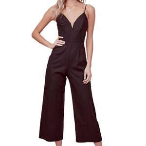 ASTR the label Izzy black cropped jumpsuit A-5